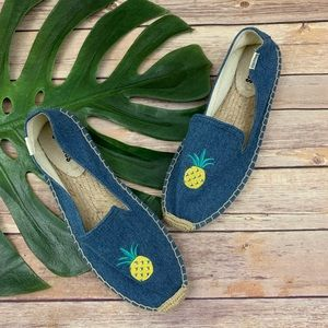 Soludos chambray blue pineapple espadrille flats